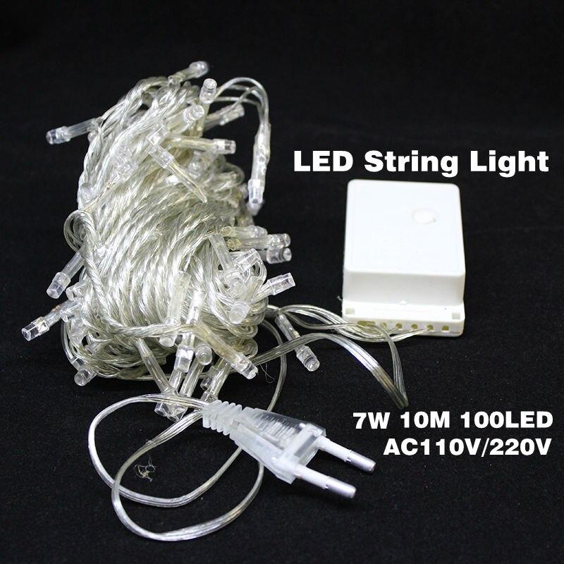 Superb Free Shipping Hot Sale 100 LED 10M String Light Christmas/Wedding/Party  Decoration Lights AC 110V 220V Holiday Led Lighting