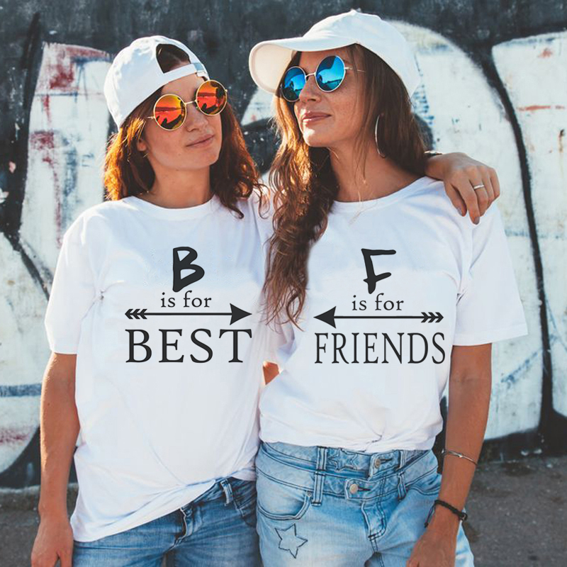 219 BFF Best Friend Tops Female T Shirt Ladies Clothes Women Tshirt Funny Harajuku Shirt Streetwear Girlsfriend Bestie T-shirt