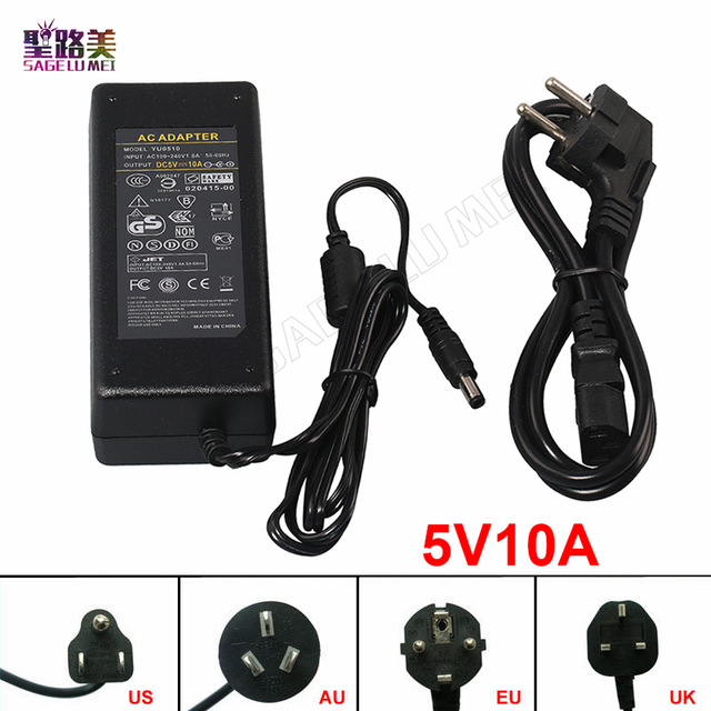 Free shipping output DC 5V 10A LED Power Supply LED Adapter Power use for DC5V WS2812B LPD8806 WS2811IC ws2801 APA102 LED Strip