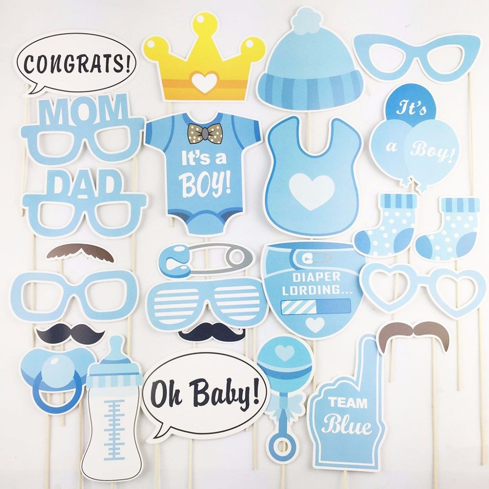 25Pcs Baby Shower Decorations Girl Boy Birthday Party Photography Funny  Masks Glasses Decor Babyshower Dekor In Photobooth Props From Home U0026 Garden  On ...
