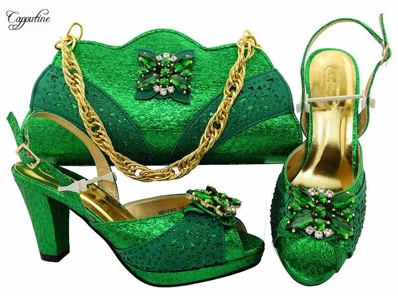 Замечательный зеленый дизайн с камнями высокая обувь на каблуке и сумки набор для вечерние mm1060 Высота каблука 8.5 см