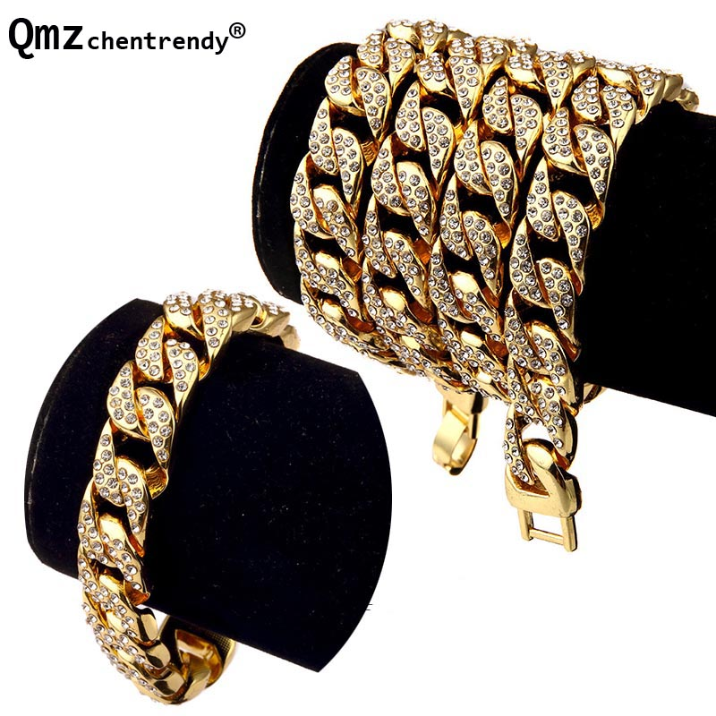 Hip Hop Bling Fully Iced Out Mens Electroplated Miami Cuban Link Chain Necklace Bracelet Simulated Gemstone Hipster Jewelry set