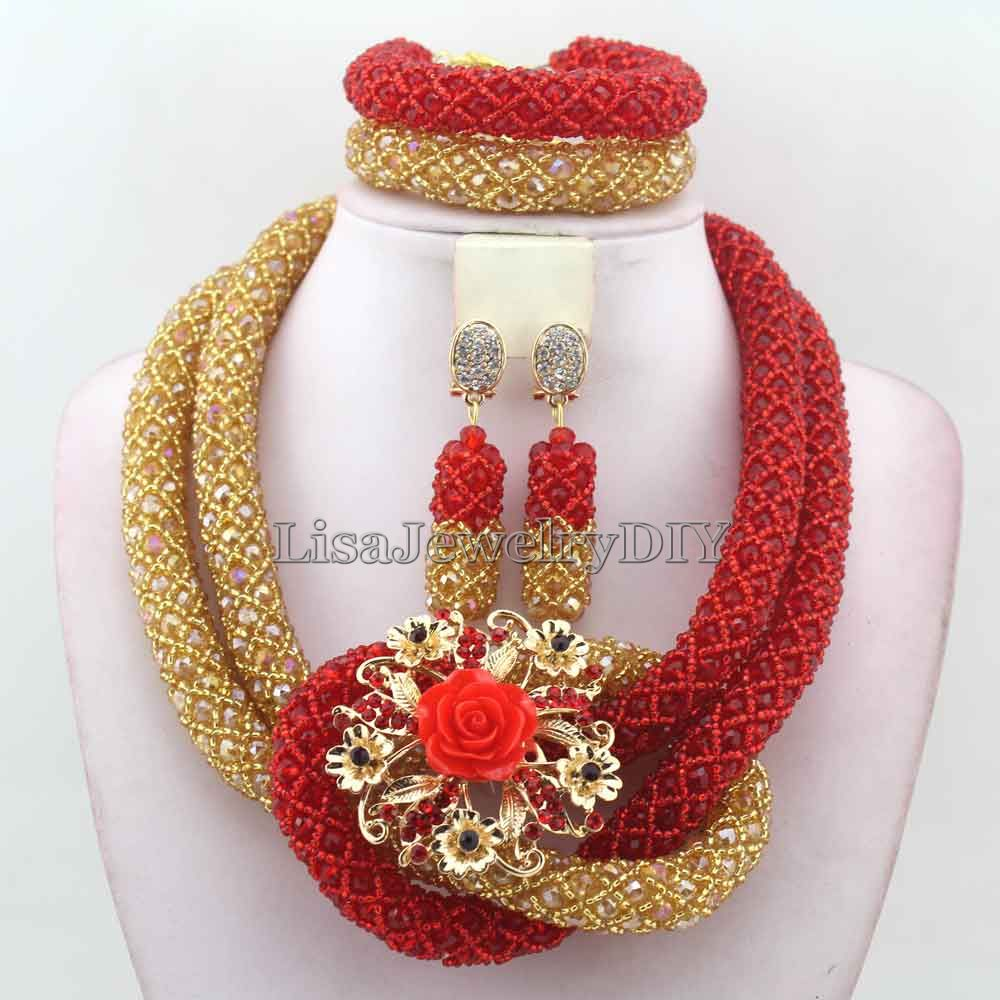 Luxury Red African Beads Wedding Necklace Set Chunky Nigerian African Set Jewelrys earrings New Free Shipping HD7542-in Jewelry Sets from Jewelry & Accessories    1