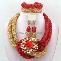 Luxury Red African Beads Wedding Necklace Set Chunky Nigerian African Set Jewelrys earrings New Free Shipping HD7542