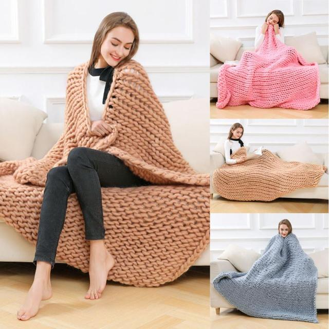 Blanket 120150cm Hand Knitted Chunky Thick Bulky Knitting Throw Home Decor Drop Shipping 2018J26