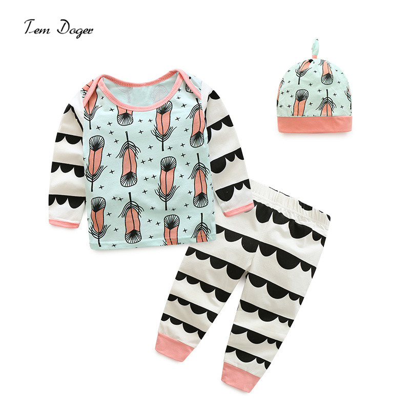 Cute Newborn Baby Girl Boy Clothes Autumn Style Feather printed T-shirt Long Sleeve + Pants Casual Hat Cap 3pcs Outfits Set 2018 spring newborn baby boy clothes gentleman baby boy long sleeved plaid shirt vest pants boy outfits shirt pants set