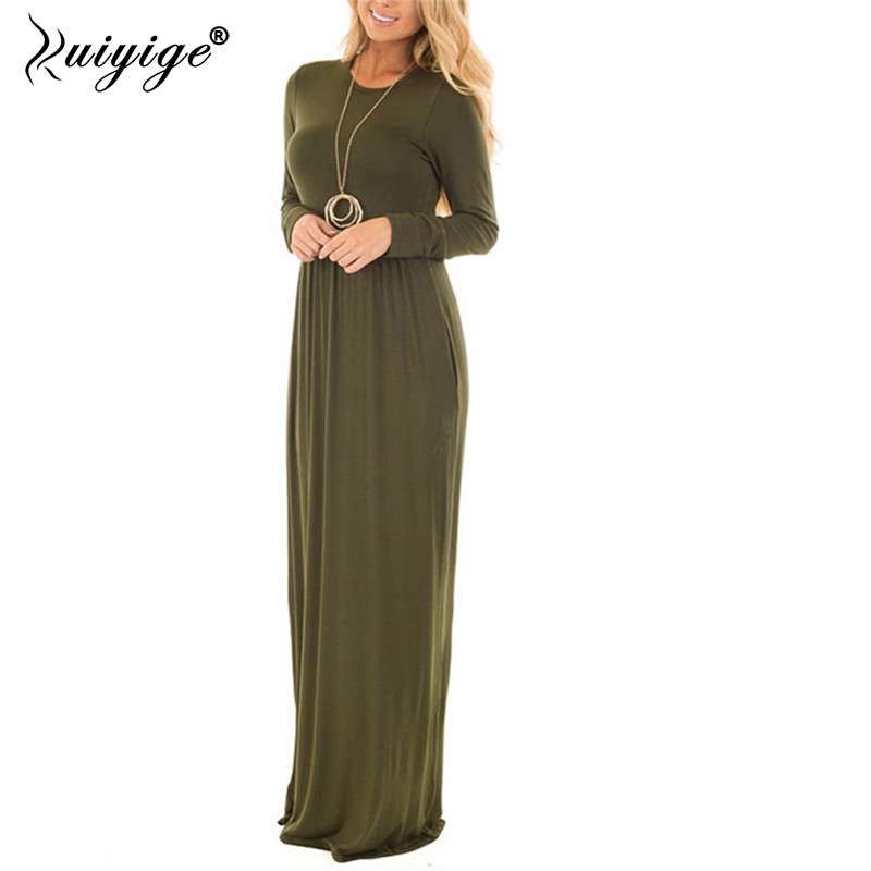 Ruiyige 2018 Winter Women Retro Solid Color Full Sleeve O-Neck Tunic High Waist Stretch Long Maxi Dresses Party Gown Vestidos