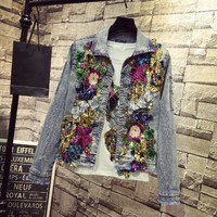Spring Women Embroidery Rose Floral Denim Jackets Short Beading Pearl Sequin Patch Epaulet Ripped Hole Bomber Jeans Jacket