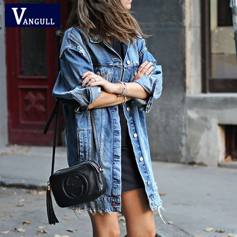 2019 Autumn Fashion Women Hole Denim   Jacket   Long Sleeve Stretch Ripped Jean Outerwear Casual Loose Plus Size Jean   Basic     Jackets
