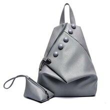 Haute Qualité PU cuir femmes sac à dos de mode boutons sacs à dos pour adolescente filles sac d'école de voyage occasionnel + Un petit sac
