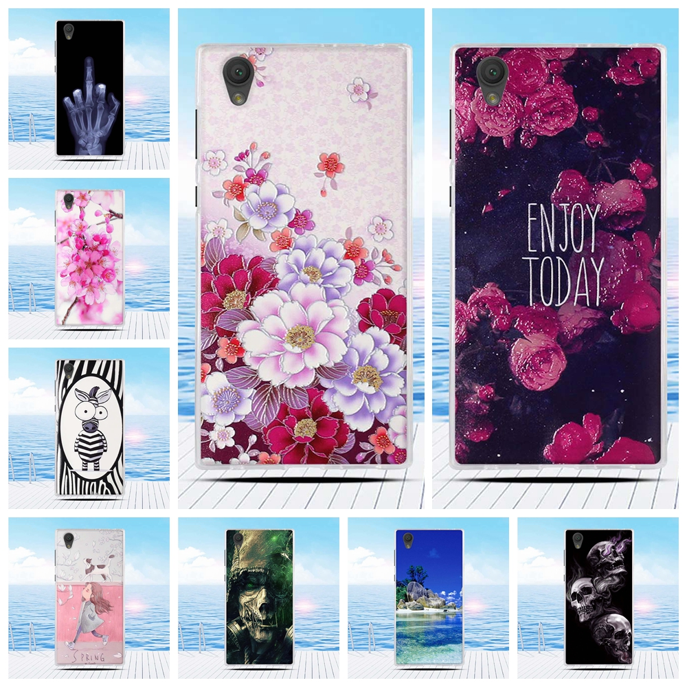 for Sony <font><b>Xperia</b></font> <font><b>L1</b></font> E6 G3312 G3313 <font><b>Case</b></font> Cartoon 3D Relief Printing Flower Back Cover TPU Soft Silicone <font><b>Case</b></font> Coque Capa Funda