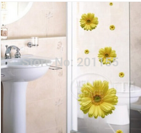 Yellow daisy flower vinyl removable room decor art diy for Daisy fuentes wall mural