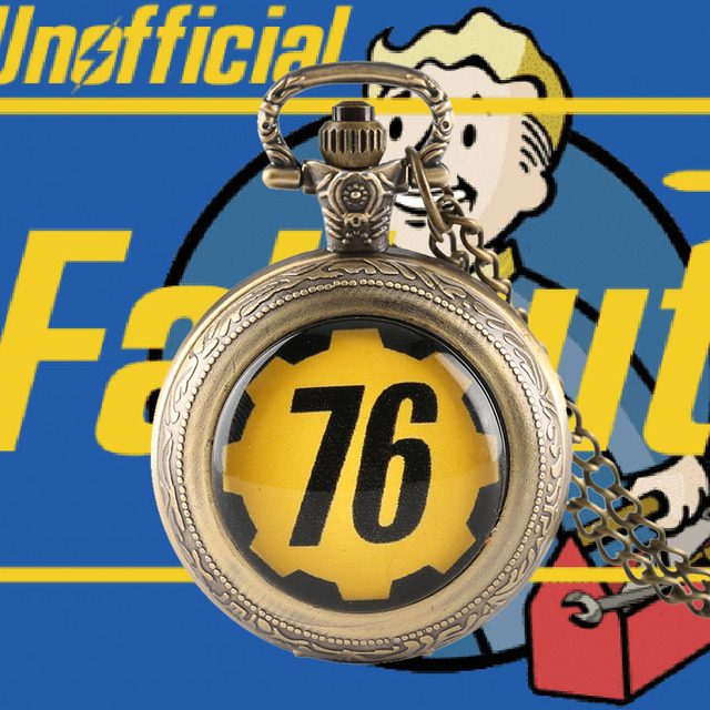 Fallout Pocket Watch Fallout 76 Vintage Pendant Clock Theme Fallout 4 Quartz Pun