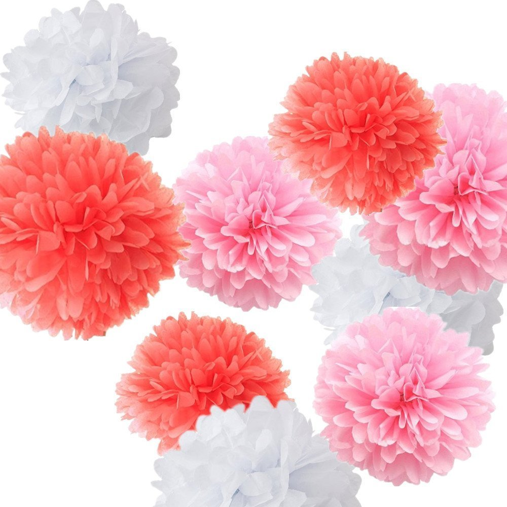 18pcs Mixed Coral Pink White Tissue Paper Pom Poms Flower ...