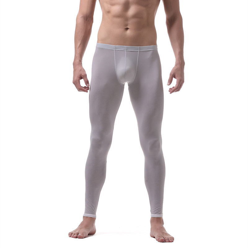 Pants Leggings Long-Johns High-Elasticity Slim U-Pouch-Bag Silk Semitransparent Home-Furnishing