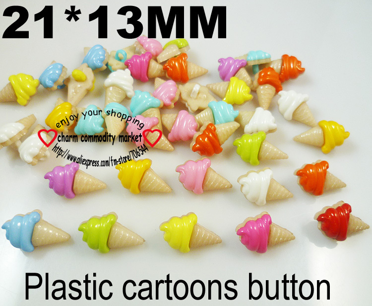 100PCS 21mm Icecream mixed plastic button clothes accessory jewelry CRAFTS P-054