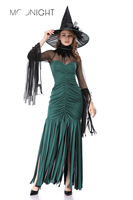 MOONIGHT New Women's Witch Costume Wizard Queen Witch Dress Cosplay Halloween Party with Hat Long Witch Costumes Party