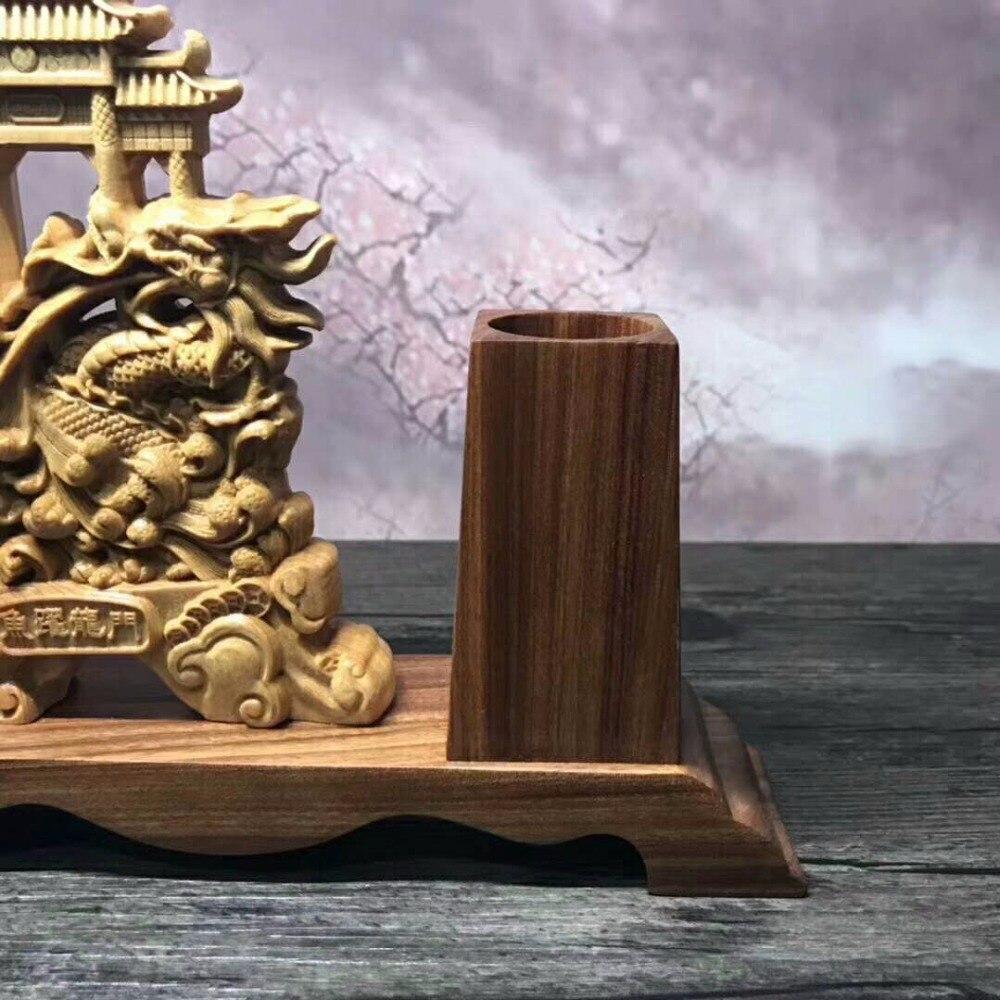 Magnifique sculpture sur bois arborvitae maison de ville chanceuse de décoration d'ameublement bureau ornements chinois. - 4
