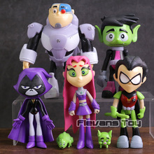 Teen Titans Go Robin Cyborg Beast Boy Starfire Raven Silkie PVC Action Figures Kids