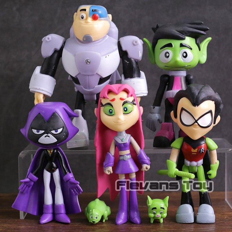 Teen Titans Gehen Robin Cyborg Beast Boy Starfire Raven Silkie PVC Action-figuren Kinder Spielzeug Geschenke 7 teile/satz
