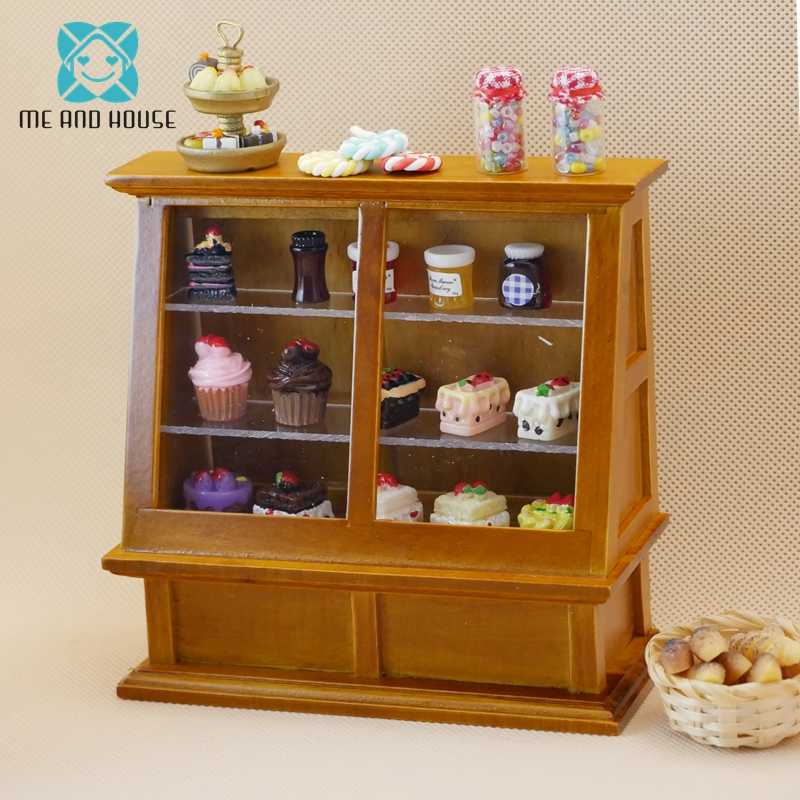 Doll House Miniatures Wooden Shop Display Mini Cabinet Dolls Cake Counter 1/12 Scale