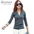 2017 sólidos 14 cores Blusas Com Decote Em V Sexy Slim Longo de Malha chemise femme manga coreano tops para as mulheres clothing camisa topo blusa