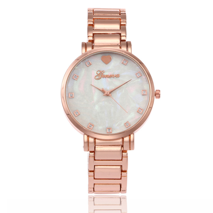 Fashion Rose Gold Stainless Steel Women Rhinestone Wristwatches Mother of Pearl Dial Watch Luxury Quartz Watch Relogio Feminino new stainless steel women wrist watch mother of pearl dial gold watch luxury quartz watch female