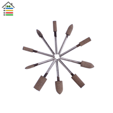 10pc Abrasive Stone Sharpening Cow Leather Polishing Point Grinding Rotary Tool