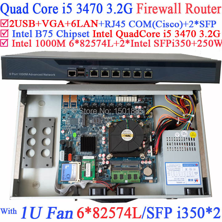 Intel Quad Core i5 3470 3.2Ghz Industrial Barebone Router Firewall with 6*1000M 82574L Gigabit Nics network routers with 6 intel pci e 1000m 82574l gigabit lan intel dual core i3 3220 3240 3 3ghz with mikrotik ros 2g ram 32g ssd