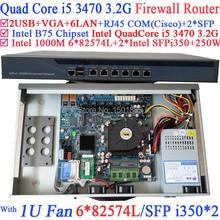 Intel Quad Core i5 3470 3.2 ГГц Промышленных Barebone Маршрутизатор Брандмауэра с 6*1000 М 82574L Гигабитные сетевые контроллеры