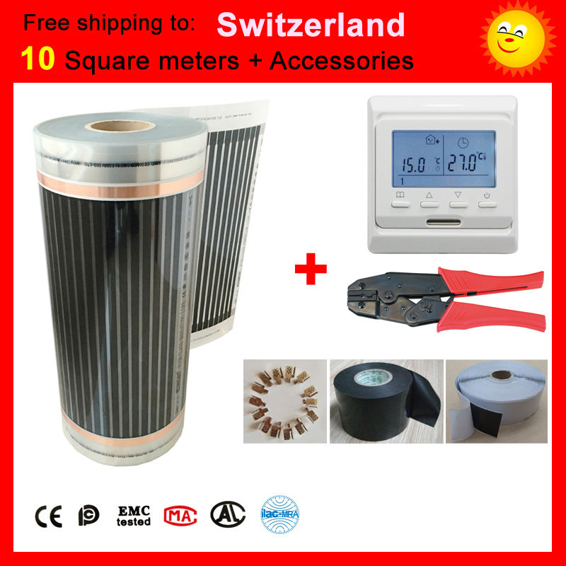 Free shipping to Switzerland,10 Square meter CE certified under-floor Heating film, far infrared heating film AC220V +-10V united kingdom free shipping 50 square meter infrared heating film with accessories under floor heating film 50cmx100m