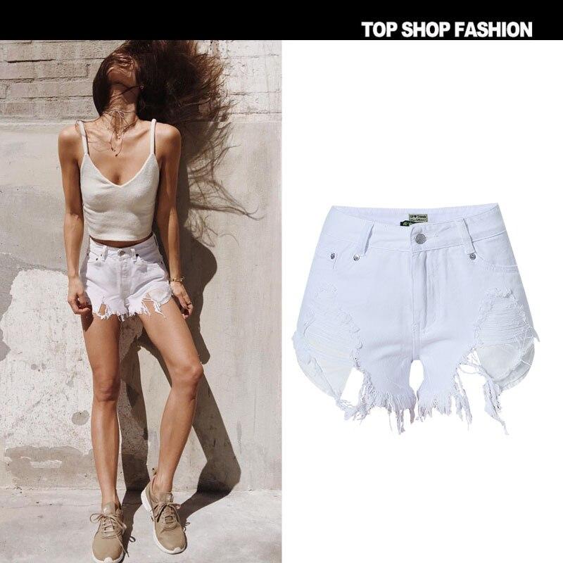 Shorts   2018 Sexy Bermuda Korean Fashion Harajuku High Waist Summer White Beach Micro For Women Cool Casual Hole Clothes