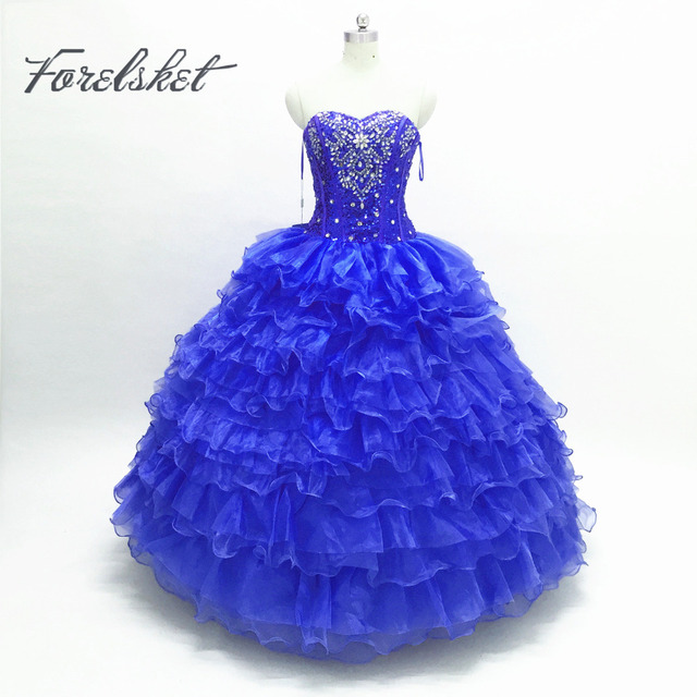 121e8298db2b Royal Blue Masquerade Ball Gown Puffy Quinceanera Dresses Girls ...