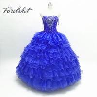 Royal Blue Masquerade Ball Gown Puffy Quinceanera Dresses Girls Corset Organza Online Sweet 16 Dresses vestidos de 15 anos