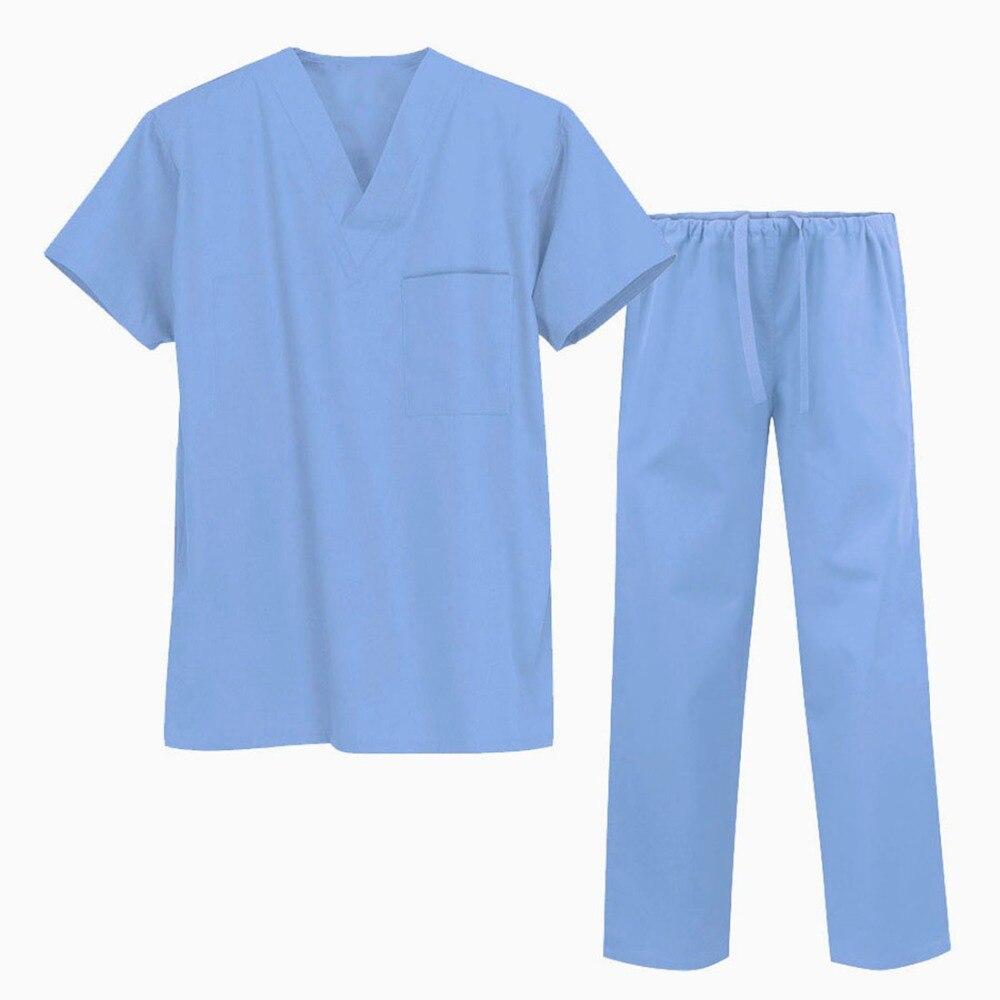 Sweat Fast Drying Antistatic Antibacterial Antioxidant Medical Short Sleeve Coat & Trousers Split Body Unisex Medical Scrub Set