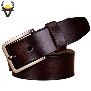 Image 2 - Fashion genuine leather belts for women Luxury designer pin buckle belt female Quality second layer cow skin strap Width 3.3 cm