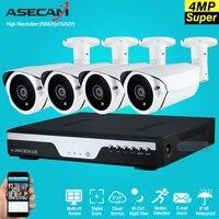Super Full HD 4CH 4MP 2688 1520P Outdoor Surveillance Kit 3led Array White Metal Bullet OV4689