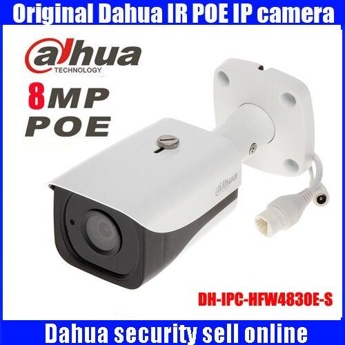 original Dahua 4K DH-IPC-HFW4830E-S Ultra HD 8MP H2.65 IP67 IR40M Mini Bullet Network IP Camera IPC-HFW4830E-S free shipping dahua cctv camera 4k 8mp wdr ir mini bullet network camera ip67 with poe without logo ipc hfw4831e se