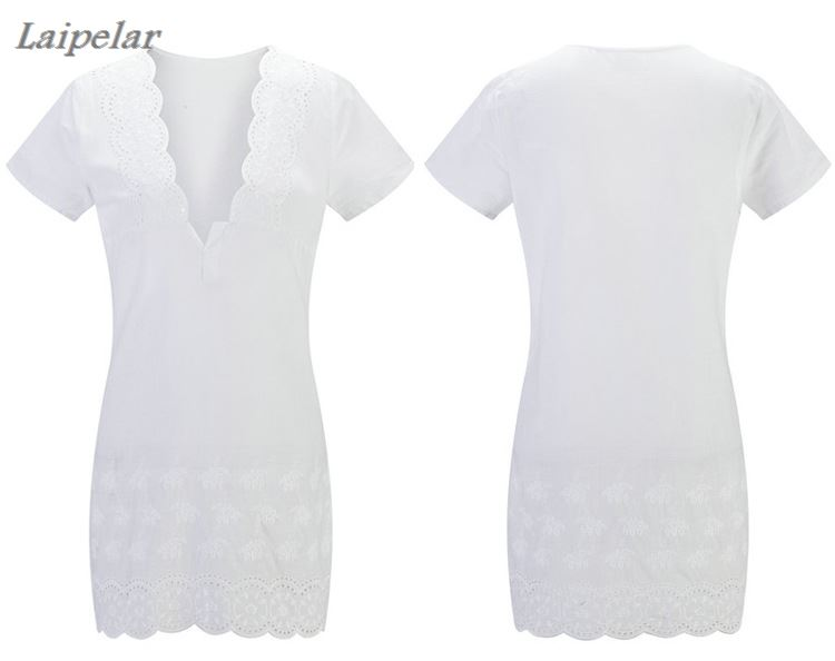 3XL <font><b>4XL</b></font> Plus Size Vestidos Mini White Lace Crochet <font><b>Sexy</b></font> Low Cut V Neck Short Sleeve Women <font><b>Dress</b></font> Bodycon Party Night <font><b>Club</b></font> <font><b>Dress</b></font> image