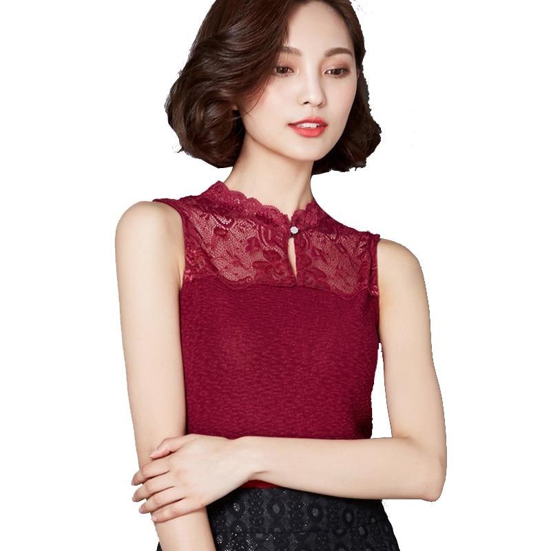 Sleeveless Lace Shirt 2016 Summer Style Sexy Body Blouse Plus Size Women Clothing Ladies Office Tops Work Wear Blusas Femininas