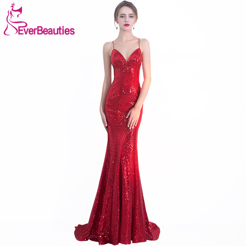 Prom     Dresses   Long 2019 Wine Red Mermaid Evening Party   Dresses   Spaghetti Straps Backless Vestido De Formatura Longo