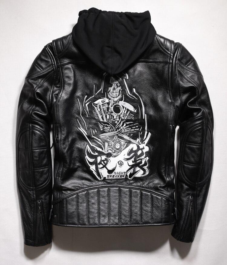 Livraison shipping.2017 Cool Marque homme style crâne en cuir Eur plus la taille Vestes hommes En Cuir véritable de moto biker veste.
