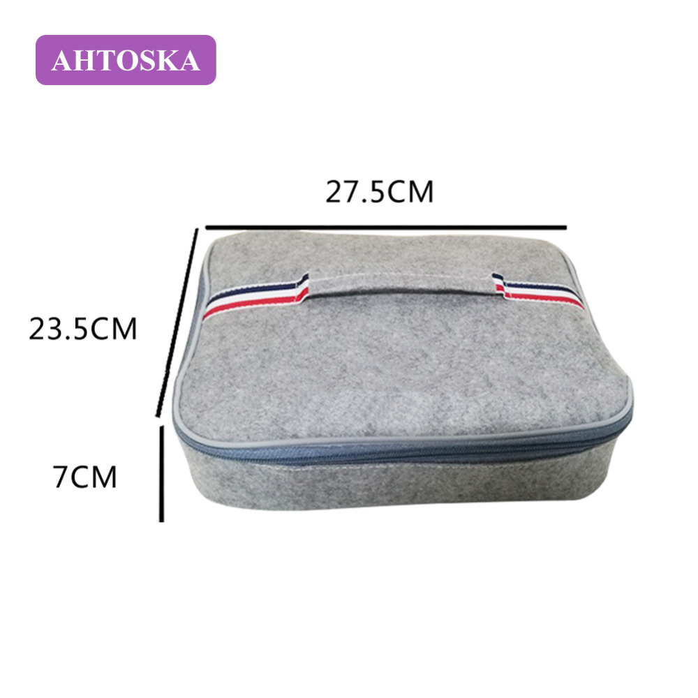 AHTOSKA Portable Solid Thermal Insulated Lunch Bag For Kids Picnic Bag Hair Felt Food Pouch
