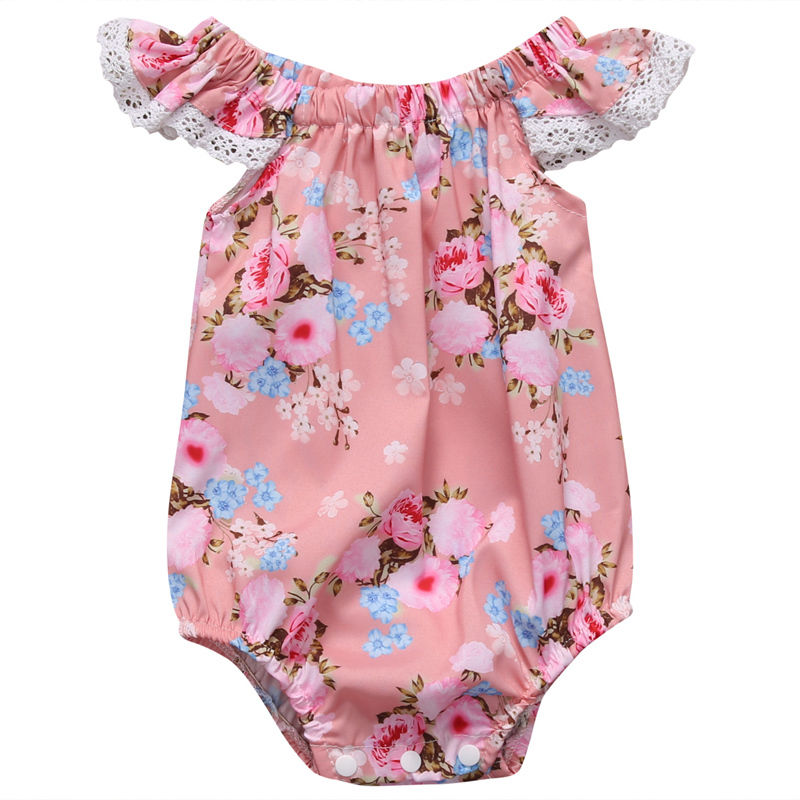 2017 Summer Newborn Baby Girls Romper Floral Ruffled Short Sleeve Jumpsuit Sunsuit Outfits Clothes 0-18M Baby Romper Clothing