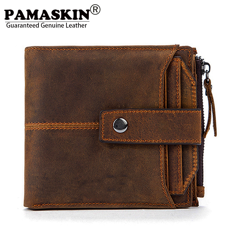 PAMASKIN Brand Short Bi-fold Men Wallets Premium Genuine Leather RFID Blocking Card Wallet for Men Zipper Coin Purses 2018 Hot lexeb cow leather wallet for men credit cards case rfid blocking short style zipper hasp id holders bifold coin purses black