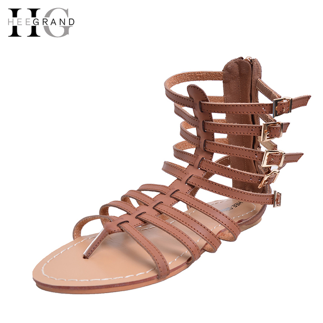 add71d296 HEE GRAND England Style Women Shoes Roman Sandals Buckle Summer Flip Flops  Gladiator Flat With Sandals Plus Size 35-43 XWZ2029