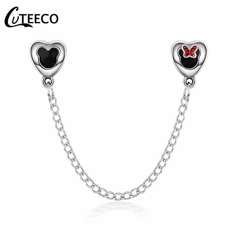 CUTEECO Cartoon Stil Mickey & Minnie Sicherheit Kette Fit Pandora Armband Charme DIY Frauen Schmuck Zubehör Dropshipping