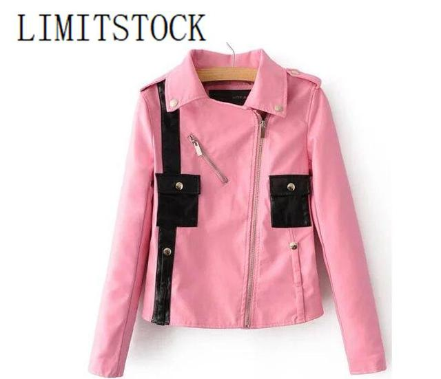 Newest Pink Black Block Color Patchwork Cute Short PU Leather ...