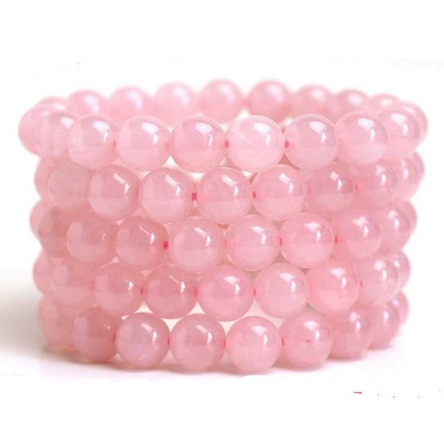 Natural Pink Quartz Beaded Bracelet Crystal Powder Pink Quartz  Strand Bracelet women jewelry