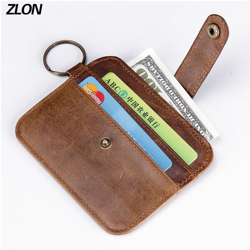 ZLON Men Unisex шынайы былғары іскерлік Жай несие картасы ID иесінің қарапайым былғары (4 карталар) Hasp Slim Card Bag әмиян K129